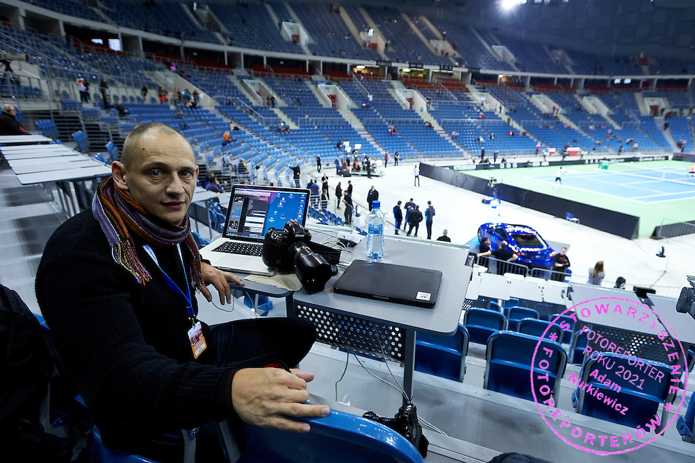 Photographer Piotr Hawalej (Wrofoto Agency) during Second Day of the Fed Cup / World Group 1st round tennis match between Poland and Russia at Tauron Krakow Arena on February 8, 2015 in Cracow, Poland.<br /> <br /> Poland, Cracow, February 8, 2015<br /> <br /> Picture also available in RAW (NEF) or TIFF format on special request.<br /> <br /> For editorial use only. Any commercial or promotional use requires permission.<br /> <br /> Adam Nurkiewicz declares that he has no rights to the image of people at the photographs of his authorship.<br /> <br /> Mandatory credit:<br /> Photo by &copy; Adam Nurkiewicz / Mediasport
