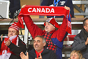 Canadian fan during the national anthems during the Rugby World Cup qualifier between Hong Kong and Canada at Stade Delort, Marseilles, France on 23 November 2018. Picture by Ian  Muir.