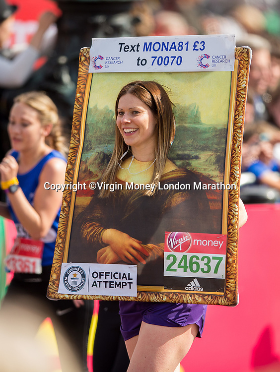 Gemma Kirkham approaches the line about to set a Guinness World Record for the fastest marathon dressed as a painting (female). The Virgin Money London Marathon, 23rd April 2017.<br /> <br /> Photo: Ben Queenborough for Virgin Money London Marathon<br /> <br /> For further information: media@londonmarathonevents.co.uk