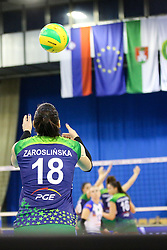 Katarzyna Zaroslinska of PGE Atom Trefl Sopot during the volleyball match between Calcit Ljubljana and PGE Atom Trefl Sopot at 2016 CEV Volleyball Champions League, Women, League Round in Pool B, 1st Leg, on October 29, 2016, in Hala Tivoli, Ljubljana, Slovenia.  (Photo by Matic Klansek Velej / Sportida)