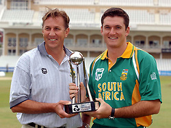 (L-R): South Africa captain Graeme Smith and coach Eric Simons with The NatWest Series trophy, at Trent Bridge, Nottingham.