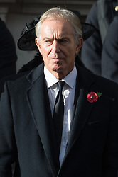 © Licensed to London News Pictures. 11/11/2018. London, UK.  Former British Prime Minister Tony Blair attends a Remembrance Day Ceremony at the Cenotaph war memorial in London, United Kingdom, on November 11, 2018.  Thousands of people honour the war dead by gathering at the iconic memorial to lay wreaths and observe two minutes silence and marks the 100th anniversary of Armistice Day. Photo credit: Ray Tang/LNP