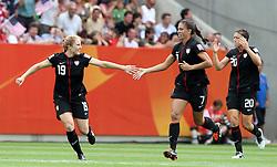 10.07.2011, Glückgas Stadion, Dresden,  GER, FIFA Women Worldcup 2011, Viertelfinale , Brasil (BRA) vs USA (USA)  im Bild   .Torjubel USA nach Eigentor Daiane (BRA) zum 0:1  , hier Rachel Buehler und Shannon Boxx (beide USA) .//  during the FIFA Women Worldcup 2011, Quarterfinal, Germany vs Japan  on 2011/07/10, Arena im Allerpark , Wolfsburg, Germany.  .EXPA Pictures © 2011, PhotoCredit: EXPA/ nph/  Hessland       ****** out of GER / CRO  / BEL ******