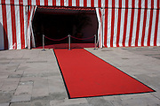 A red carpet and red and white striped marquee is seen after a military event at the Guildhall in the City of London, the capital's financial district and historic heart.
