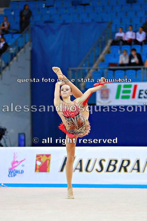 """Aesma Carmen during clubs routine at the International Tournament of rhythmic gymnastics """"Città di Pesaro"""", 02 April,2016 . Carmen is a gymnast from Estonia. She is born at Tallin, 2002. <br /> This tournament dedicated to the youngest athletes is at the same time of the World Cup."""