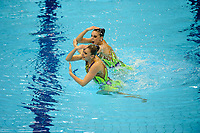 London, England, 22-04-12. Darya NAVASELSKAYA and Iya ZHYSHKEVICH (BLR) in the FINA Synchronised Swimming Qualifications.