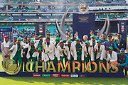 The Pakistan cricket team celebrate winning the ICC Champions' Trophy 2017 by 180 runs against the favourites, India. at The Oval, London. Photo: Graham Morris / www.photosport.nz