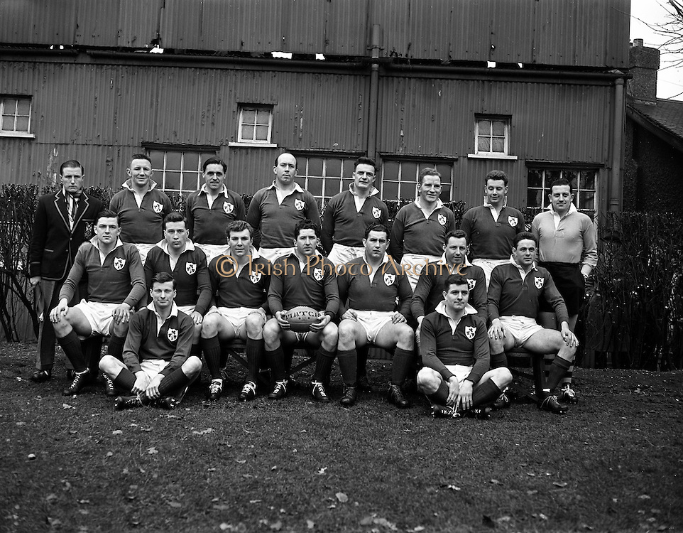 Irish Rugby Football Union, Ireland v Wales, Five Nations, Landsdowne Road, Dublin, Ireland, Saturday 15th March, 1958,.15.3.1958, 3.15.1958,..Referee- Dr N M Parkes, Rugby Football Union, ..Score- Ireland 6 - 9 Wales,..Irish Team, ..J G M W Murphy, Wearing number 15 Irish jersey, Full Back, London Irish Rugby Football Club, Surrey, England, ..A J O'Reilly, Wearing number 14 Irish jersey, Right Wing, Old Belvedere Rugby Football Club, Dublin, Ireland,  ..N J Henderson, Wearing number 13 Irish jersey, Captain of the Irish team, Right centre, N.I.F.C, Rugby Football Club, Belfast, Northern Ireland, ..D Hewitt, Wearing number 12 Irish jersey, Left centre, Queens University Rugby Football Club, Belfast, Northern Ireland,..A C Pedlow, Wearing number 11 Irish jersey, Left wing,  C I Y M S Rugby Football Club, Belfast, Northern Ireland, ..M A English, Wearing number 10 Irish jersey, Outside Half, Bohemians Rugby Football Club, Limerick, Ireland, ..J A O'Meara, Wearing number 9 Irish jersey, Scrum Half, Dolphin Rugby Football Club, Cork, Ireland, ..P J O'Donoghue, Wearing  Number 1 Irish jersey, Forward, Bective Rangers Rugby Football Club, Dublin, Ireland, ..A R Dawson, Wearing number 2 Irish jersey, Forward, Wanderers Rugby Football Club, Dublin, Ireland, . .B G Wood, Wearing number 3 Irish jersey, Forward, Garryowen Rugby Football Club, Limerick, Ireland, ..J B Stevenson, Wearing number 4 Irish jersey, Forward, Instonians Rugby Football Club, Belfast, Northern Ireland,..W A Mulcahy, Wearing number 5 Irish jersey, Forward, University College Dublin Rugby Football Club, Dublin, Ireland, ..J A Donaldson, Wearing number 6 Irish jersey, Forward, Collegians Rugby Football Club, Belfast, Northern Ireland, ..J R Kavanagh, Wearing number 7 Irish jersey, Forward, Wanderers Rugby Football Club, Dublin, Ireland, ..N A Murphy, Wearing number 8 Irish jersey, Forward, Cork Constitution Rugby Football Club, Cork, Ireland,..