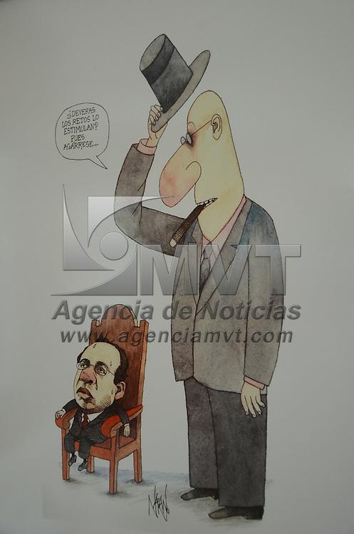Toluca, México.- La Facultad de Ciencias Políticas y Sociales tiene la exposición Caricatura Política, de la Revista Proceso. Agencia MVT / José Hernández