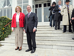 © Licensed to London News Pictures. 24/03/2015. Folkstone, UK. Leader of UKIP Nigel Farage (R)  announces  Harriet Yeo (L) has been named as Ukip's new Folkestone and Hythe general election candidate following the expulsion of Janice Atkinson over allegations of an inflated expenses claim.. Photo credit : Stephen Simpson/LNP
