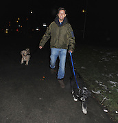 12.FEBRUARY.2012. LONDON<br /> <br /> PAT SHARP WALKING HIS DOGS IN NORTH LONDON<br /> <br /> BYLINE: EDBIMAGEARCHIVE.COM<br /> <br /> *THIS IMAGE IS STRICTLY FOR UK NEWSPAPERS AND MAGAZINES ONLY*<br /> *FOR WORLD WIDE SALES AND WEB USE PLEASE CONTACT EDBIMAGEARCHIVE - 0208 954 5968*
