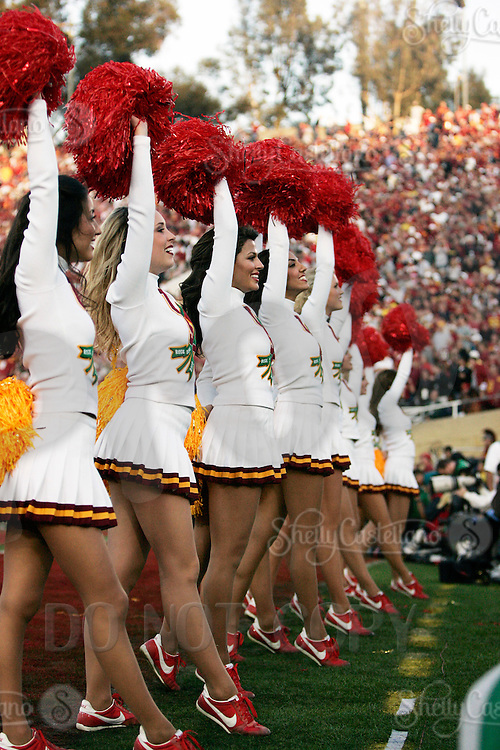 1 January 2007:  Cheerleader Song Girls lined up at the 93rd Rose Bowl Game at the Rose Bowl Stadium for the Pac-10 USC Trojans vs the Big-10 Michigan Wolverines NCAA college football game in Southern California.  Trojans defeated the Wolverines 32-18 in regulation.<br />