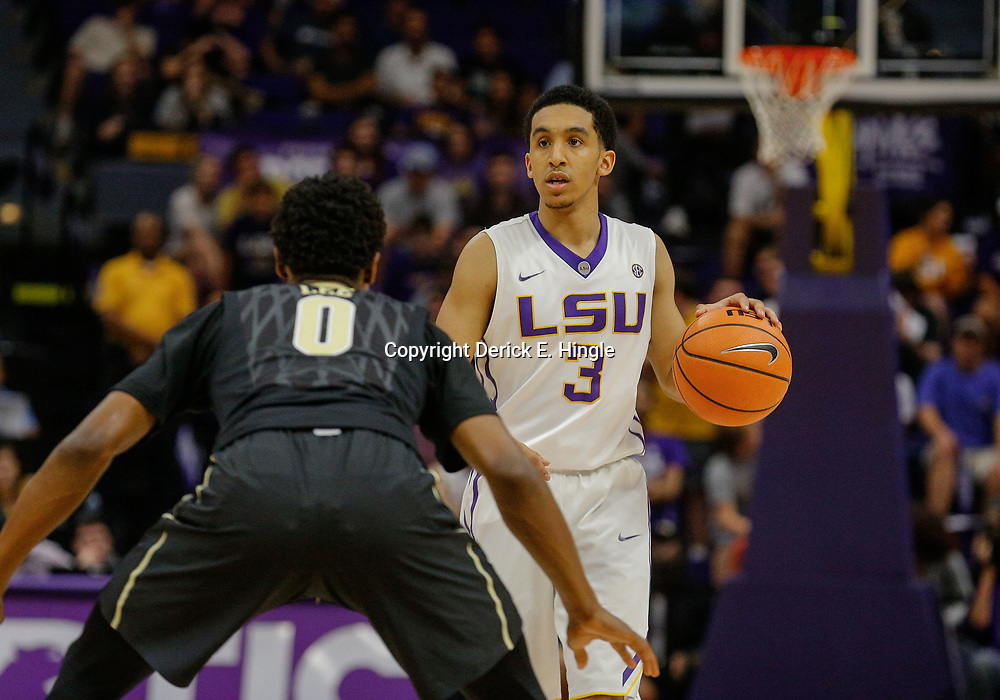 Feb 20, 2018; Baton Rouge, LA, USA; LSU Tigers guard Tremont Waters (3) is defended by Vanderbilt Commodores guard Saben Lee (0) during the second half at the Pete Maravich Assembly Center. LSU defeated Vanderbilt 88-78. Mandatory Credit: Derick E. Hingle-USA TODAY Sports