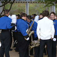 Tishomingo County High School waits to enter the stadium during Saturday's Marching Band competition Saturday at Tupelo High School