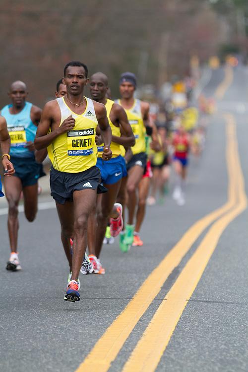 2013 Boston Marathon: Markus Geneti, Ethiopia, leads at mile 8