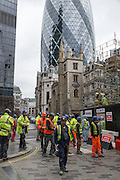 Migrant workers on a building site in the City of London.
