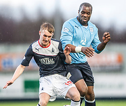Falkirk's Craig Sibbald and Dundee's Christian Nade.<br /> Falkirk 2 v 0 Dundee, Scottish Championship game at The Falkirk Stadium.<br /> &copy; Michael Schofield.