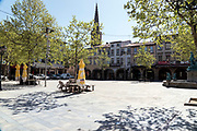 empty town square at noon during the Covid crisis Limoux France April 2020