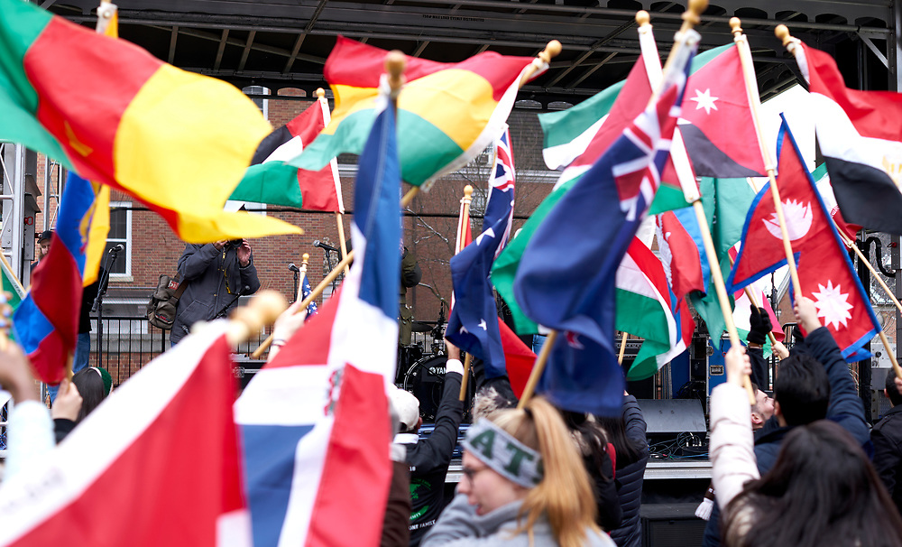 The Parade of flags comes to an end at the main stage, where prominent members of the international community would then speak.