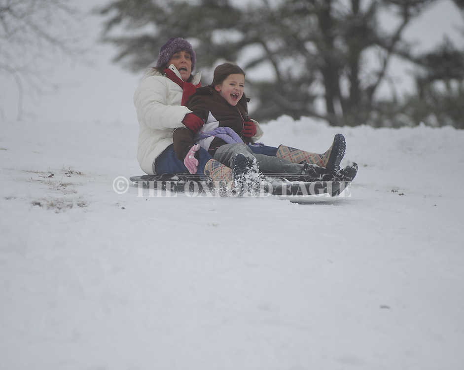 Sledders in Avent Park in the snow in Oxford, Miss., on Monday, January 10, 2011.