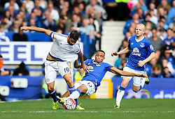 Everton's Brendan Galloway tackles Diego Costa of Chelsea - Mandatory byline: Matt McNulty/JMP - 07966386802 - 12/09/2015 - FOOTBALL - Goodison Park -Everton,England - Everton v Chelsea - Barclays Premier League
