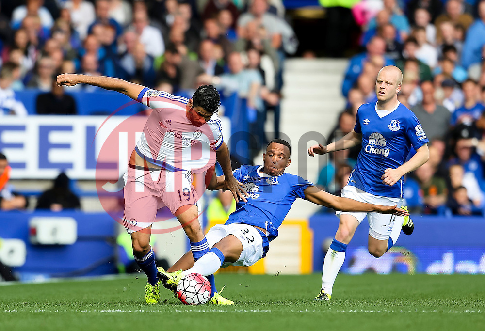 Everton's Brendan Galloway tackles Diego Costa of Chelsea - Mandatory byline: Matt McNulty/JMP - 07966386802 - 12/09/2015 - FOOTBALL - Goodison Park -Everton,England - Everton v Chelsea - Barclays Premier League
