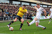 Oxford United forward Chris Maguire and Swansea City defender Stephen Kingsley during the The FA Cup third round match between Oxford United and Swansea City at the Kassam Stadium, Oxford, England on 10 January 2016. Photo by Jemma Phillips.