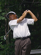 Jun 26, 2006; Gaylord MI; USA; Fred Couples watches his tee shot on the seventh hole during the final round of the ING Par-3 Shootout at Treetops Resort in Gaylord Michigan.