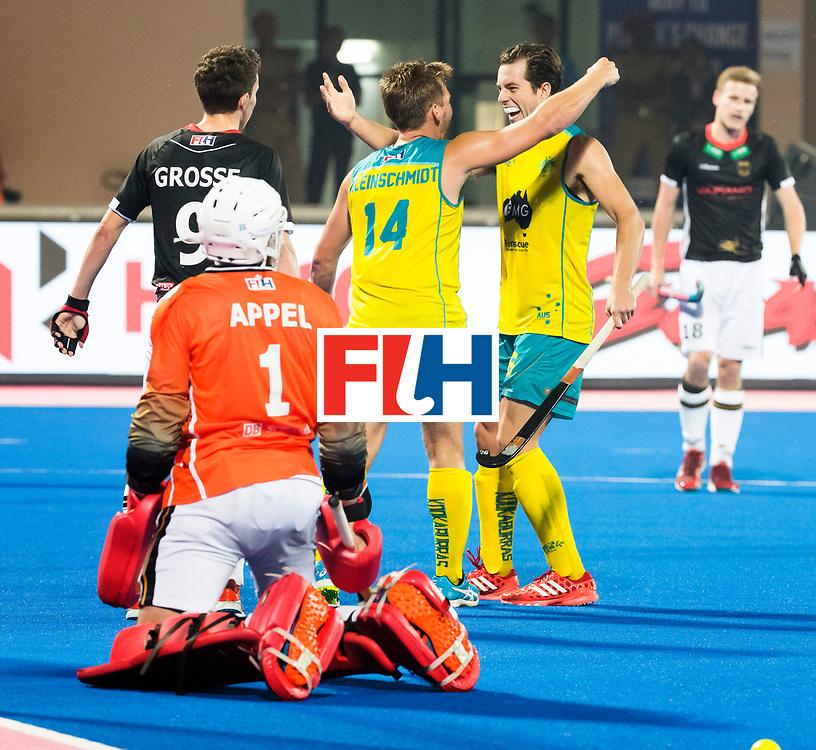 BHUBANESWAR - The Odisha Men's Hockey World League Final . Match ID 05 . Germany  v Australia . Aaron Kleinschmidt (Aus) scored 1-2 and celebrates with Dylan Wotherspoon (Aus) .  WORLDSPORTPICS COPYRIGHT  KOEN SUYK