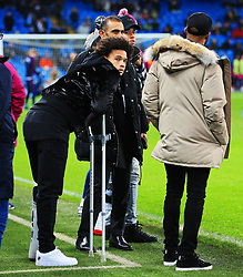 Leroy Sane of Manchester City wears a protective boot and crutches whilst pitch side before kick off - Mandatory by-line: Matt McNulty/JMP - 31/01/2018 - FOOTBALL - Etihad Stadium - Manchester, England - Manchester City v West Bromwich Albion - Premier League