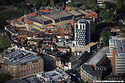 aerial photograph of Westlegate Tower Norwich. Built in 1959 Westlegate tower had become disused and an eyesore but has recently been refurbished with an £8m scheme producing a bold modern design.