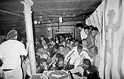 Crowd at Dingwalls gets bum-rushed from the door before Ultramagnetic MC's hit the stage, London, UK, 1989