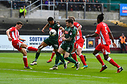 Jake Jervis (14) of Plymouth Argyle and Jimmy Spencer (9) of Plymouth Argyle trying to find a way through the Accrington defence during the EFL Sky Bet League 2 match between Plymouth Argyle and Accrington Stanley at Home Park, Plymouth, England on 1 April 2017. Photo by Graham Hunt.