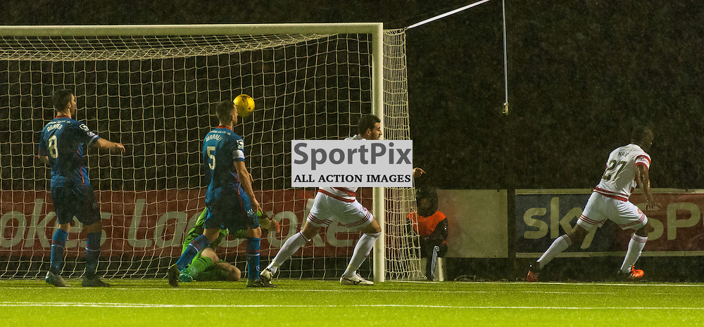 #27 Christian Nade (Hamilton Academical) wheels away after making it 3-3 • Hamilton Academical v Inverness Caledonian Thistle • SPFL Premiership • 30 December 2015 • © Russel Hutcheson | SportPix.org.uk