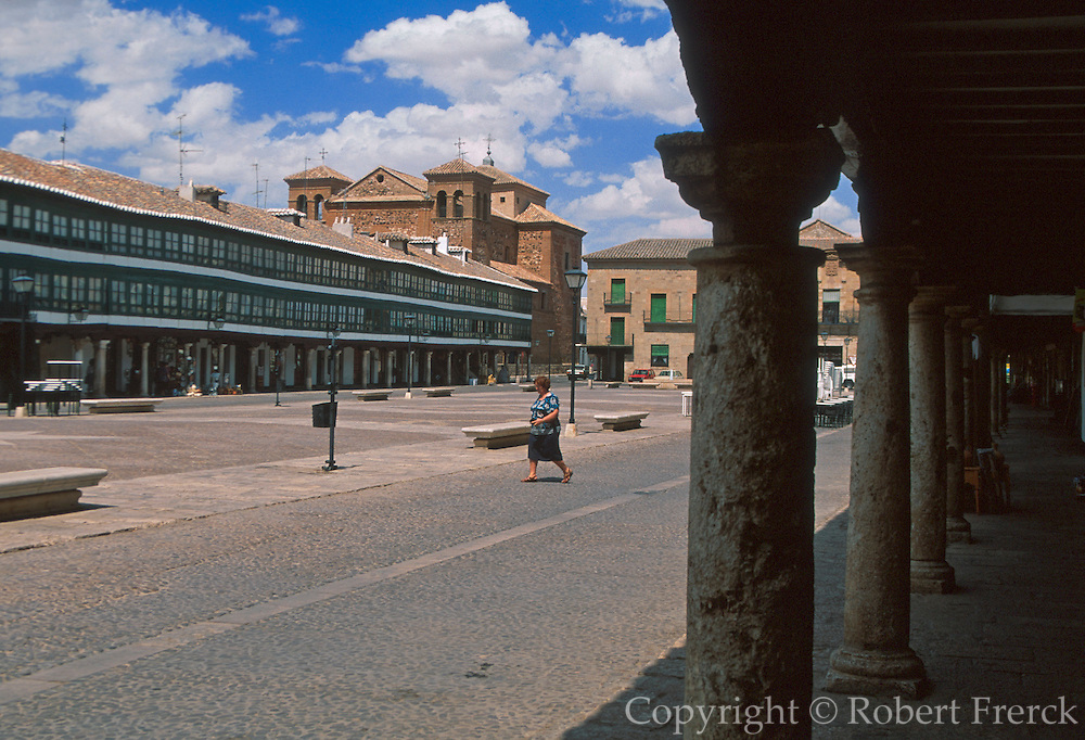 SPAIN, CASTILE-LA MANCHA Almagro; unusual Plaza Mayor with long balconied sides. City was home to the Order of Knights of Calatrava