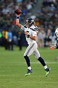 Seattle Seahawks quarterback Austin Davis (6) throws a pass during the 2017 NFL week 1 preseason football game against the against the Los Angeles Chargers, Sunday, Aug. 13, 2017 in Carson, Calif. The Seahawks won the game 48-17. (©Paul Anthony Spinelli)