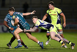 Mark Jennings of Sale Sharks tackles Alex Lewington of London Irish - Mandatory by-line: Matt McNulty/JMP - 15/09/2017 - RUGBY - AJ Bell Stadium - Sale, England - Sale Sharks v London Irish - Aviva Premiership