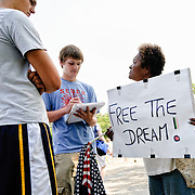"Civil Rights protester protesting the decision to use the anniversary of MLK's famous civil rights speech. Conservative television commentator Glenn Beck's ""Restore Honor"" conservative rally at the Lincoln Memorial on the National Mall, held on the 47th anniversary of Dr. Martin Luther King's famous ""I Have a Dream"" civil rights speach of 1963. Speakers from the stage erected on the lower steps of the Lincoln Memorial included Beck himself along with former vice presidential candidate Sarah Palin."