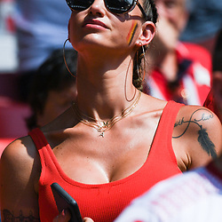 Alex Witsel's wife, Rafaella Szabo Witsel during the FIFA World Cup Group G match between Belgium and Tunisia at Spartak Stadium on June 23, 2018 in Moscow, Russia. (Photo by Anthony Dibon/Icon Sport)