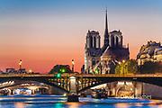 Notre Dame Cathedral, Seine, sunset, Paris, France