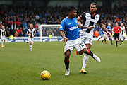 Alfredo Morelos of Rangers looses the ball to Anton Ferdinand of St Mirren during the Ladbrokes Scottish Premiership match between St Mirren and Rangers at the Simple Digital Arena, Paisley, Scotland on 3 November 2018.