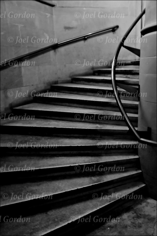 Interior stairway to success in the landmark Jefferson Library building, stairs or step leading up.<br />