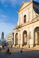 The Iglesia Parroquial de la Santisima Trinidad (Holdy Trinity Church) in the cobblestoned  Plaza Mayor.  Trinidad, Cuba<br /> Trinidad is a UNESCO World Heritage Site