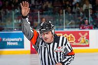 KELOWNA, CANADA - NOVEMBER 26: Referee Jordan Lightbown calls to the bench between the Kelowna Rockets and the Regina Pats on November 26, 2016 at Prospera Place in Kelowna, British Columbia, Canada.  (Photo by Marissa Baecker/Shoot the Breeze)  *** Local Caption ***