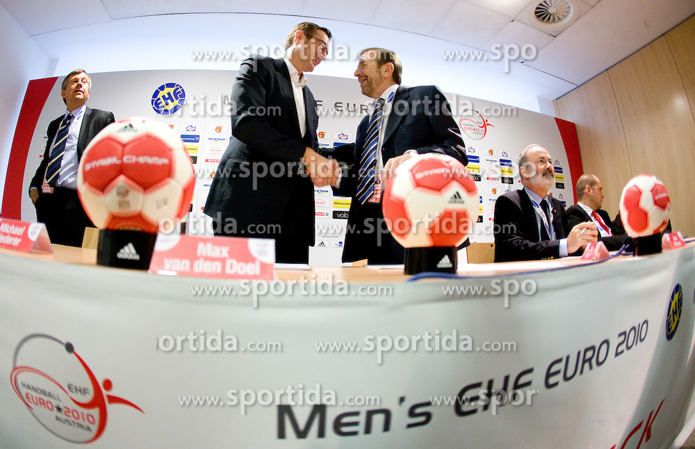 Max van den Doel of Adidas and President of EHF Tor Lian at press conference of EHF and Adidas, on January 22, 2010 in Olympia Halle, Innsbruck, Austria. (Photo by Vid Ponikvar / Sportida)