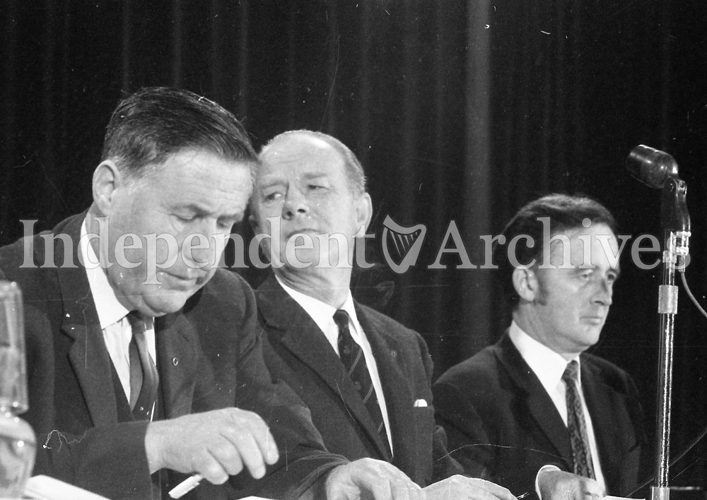 Aontacht Eireann, first Ard Fheis in Mansion House. With Padraig Mooney and Kevin Boland. 08 April 1972.<br />