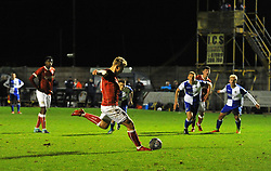 Jake Andrews of Bristol City takes a shot at goal - Mandatory by-line: Paul Knight/JMP - 16/11/2017 - FOOTBALL - Woodspring Stadium - Weston-super-Mare, England - Bristol City U23 v Bristol Rovers U23 - Central League Cup