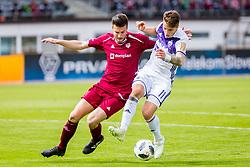 Luka Zahovic of NK Maribor and Rok Elsner during football match between NK Triglav Kranj and NK Maribor in Round #20 of Prva Liga Telekom Slovenije 2017/18, on April 11, 2018 in Sports park Kranj, Kranj, Slovenia. Photo by Ziga Zupan / Sportida