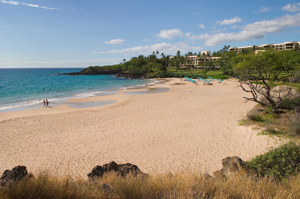 Beach at Hapuna State Park and Hapuna Beach Prince Hotel, Kohala Coast, Island of Hawaii..