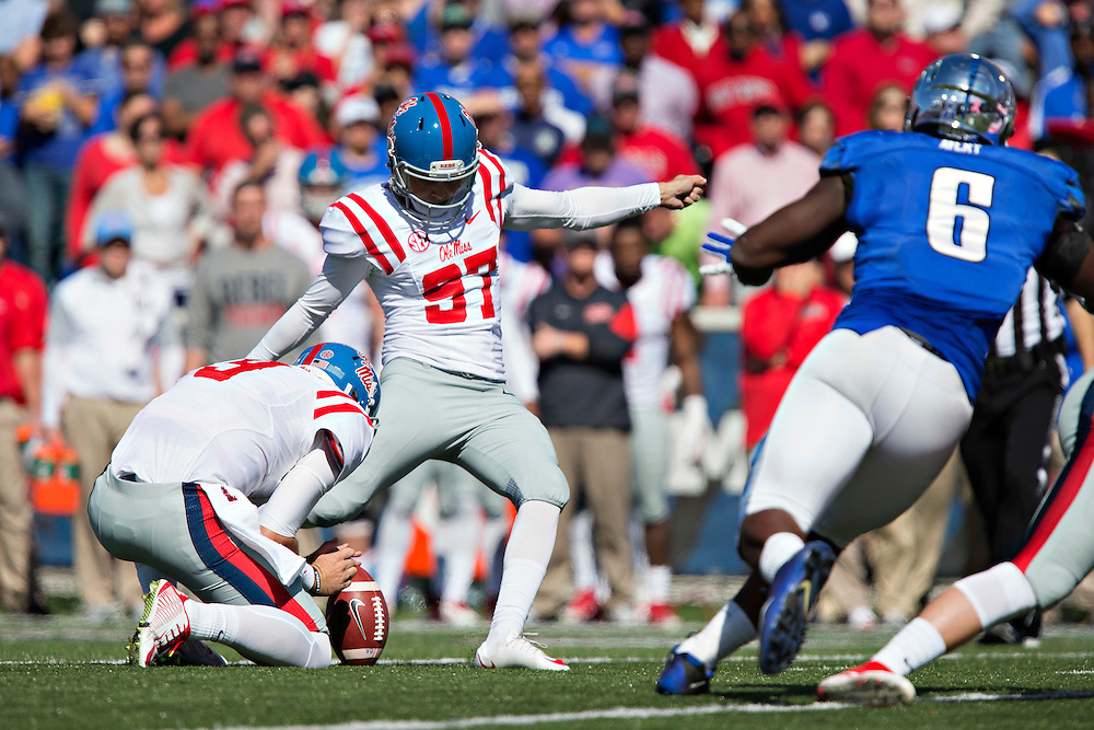 MEMPHIS, TN - OCTOBER 17:  Gary Wunderlich #97 of the Ole Miss Rebels kicks a extra point against the Memphis Tigers at Liberty Bowl Memorial Stadium on October 17, 2015 in Memphis, Tennessee.  The Tigers defeated the Rebels 37-24.  (Photo by Wesley Hitt/Getty Images) *** Local Caption *** Gary Wunderlich